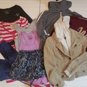 9 items mixed lot of tops shorts sweatshirts jacke